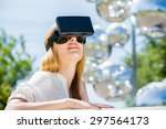 girl uses head mounted display... | Shutterstock . vector #297564173