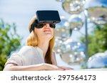 girl uses head mounted display...   Shutterstock . vector #297564173