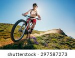 mountain bike. man riding... | Shutterstock . vector #297587273