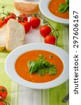 tomato soup with gremolata ... | Shutterstock . vector #297606167