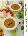 tomato soup with gremolata ... | Shutterstock . vector #297606173