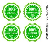 green badges  stickers  logo ... | Shutterstock .eps vector #297608987