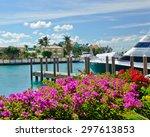 Boats Line A Tropical Caribbea...