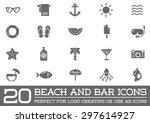 set of vector beach sea bar... | Shutterstock .eps vector #297614927