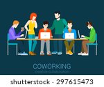 coworking flat web infographic... | Shutterstock .eps vector #297615473