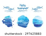 hello summer. symbol of summer. ... | Shutterstock .eps vector #297625883
