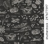 seamless pattern with spices on ... | Shutterstock .eps vector #297677597
