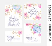 invitation card with watercolor ...   Shutterstock .eps vector #297695033