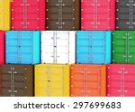 a stack of cargo containers ... | Shutterstock . vector #297699683