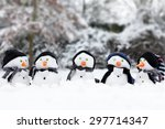 Winter Snowman Scene With Snow...