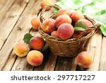 Ripe Peaches Fruit In Basket O...