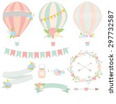wedding hot air balloon vector  | Shutterstock .eps vector #297732587