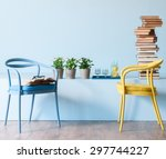blue wall interior style  | Shutterstock . vector #297744227