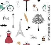 seamless pattern with paris... | Shutterstock .eps vector #297745187