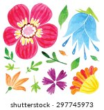 set of flowers  hand drawing... | Shutterstock .eps vector #297745973