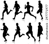 set of silhouettes. runners on... | Shutterstock .eps vector #297771977