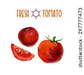 vector set of watercolor tomato ...   Shutterstock .eps vector #297777473