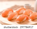 Fresh Japanese Salmon Sushi On...