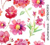 watercolor pattern with flowers ... | Shutterstock . vector #297809393
