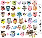 cute owls and birds set. raster ... | Shutterstock . vector #297827993