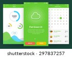 flat green ui  3 screen   ... | Shutterstock .eps vector #297837257