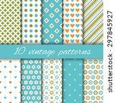 set of vintage patterns in blue ... | Shutterstock .eps vector #297845927