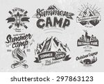 Set outdoor camp typography design label  | Shutterstock vector #297863123