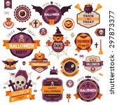 set of vintage happy halloween... | Shutterstock .eps vector #297873377
