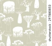 seamless pattern of rare trees... | Shutterstock .eps vector #297880853