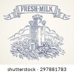 Milk Cans And Glass Of Milk ...