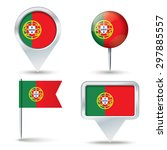 map pins with flag of portugal  ... | Shutterstock .eps vector #297885557