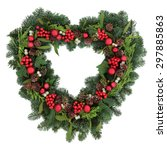 heart shaped christmas wreath... | Shutterstock . vector #297885863