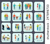 friends shadow icons set with... | Shutterstock .eps vector #297898733
