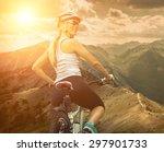 beautiful woman in helmet and...   Shutterstock . vector #297901733