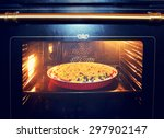 currant cake in the oven. | Shutterstock . vector #297902147