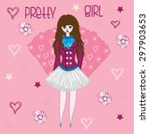 pretty girl with hearts and... | Shutterstock .eps vector #297903653