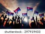 group of people waving flag of... | Shutterstock . vector #297919433