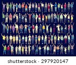 multiethnic casual people... | Shutterstock . vector #297920147