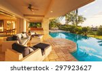 beautiful luxury home with... | Shutterstock . vector #297923627