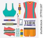 top view runner gears vector... | Shutterstock .eps vector #297931187