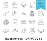 pets shop icons. thin line flat ... | Shutterstock .eps vector #297971153