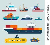 boats and ships  | Shutterstock .eps vector #297974687