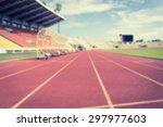 blur of red running tracks in... | Shutterstock . vector #297977603