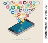 mobile app development concept. ... | Shutterstock .eps vector #297981257