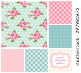 set of cute seamless shabby... | Shutterstock . vector #297982673