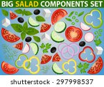 big set of isolated salad... | Shutterstock .eps vector #297998537