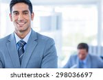 happy businessman looking at... | Shutterstock . vector #298036697