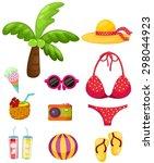 illustration of isolated summer ... | Shutterstock .eps vector #298044923