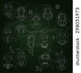 family tree on the blackboard | Shutterstock .eps vector #298051973