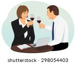 business people holding goblets ... | Shutterstock .eps vector #298054403